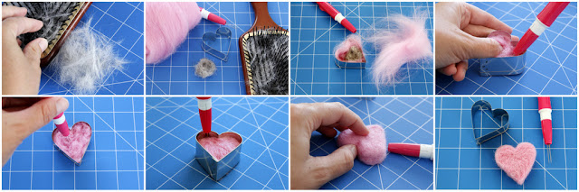 Step-by-step making a needled felted heart using fur from dogs and cats