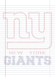 Papel Pautado New York Giants rabiscado PDF para imprimir na folha A4