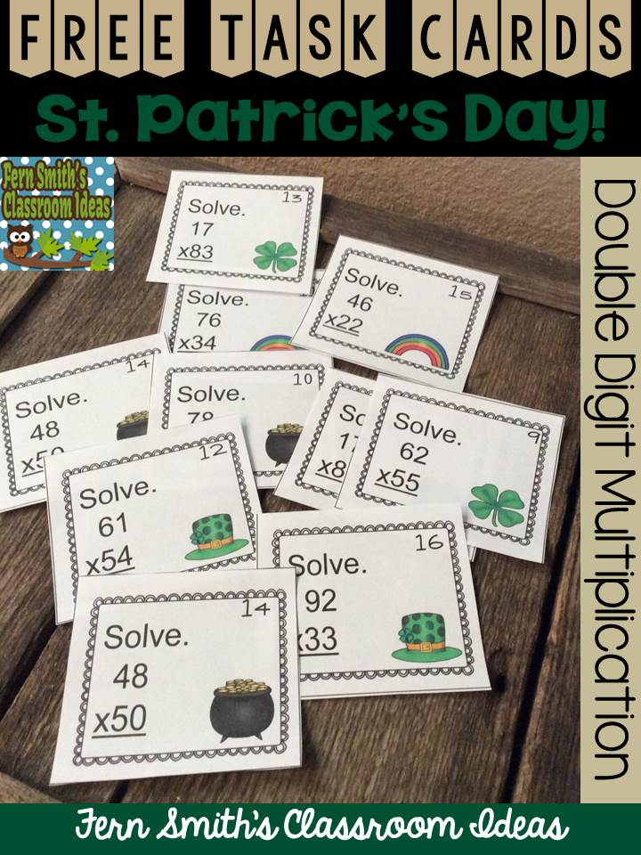Fern's Freebie Friday ~ FREE Two Digit By Two Digit Multiplication St. Patricks Day Task Cards