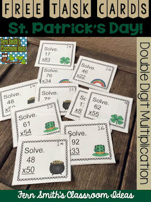 FERN'S FREEBIE FRIDAY ~ FREE TWO DIGIT BY TWO DIGIT MULTIPLICATION ST. PATRICK'S DAY TASK CARDS