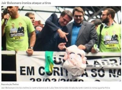 Bolsonaro no comício ironizando atentado a Lula