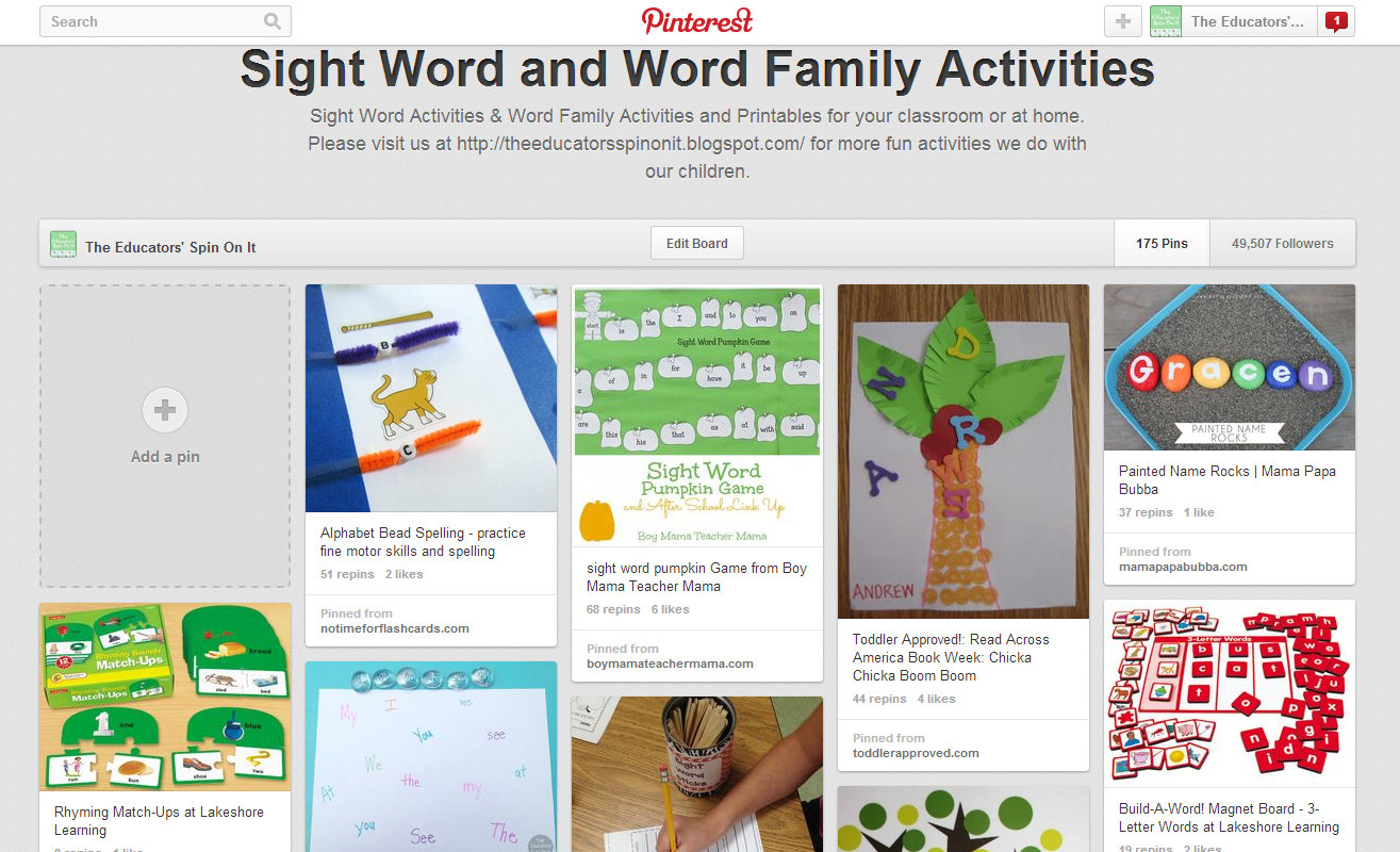 The Educators Spin On It Sight Word Amp Word Family Activities