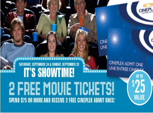 Shoppers Drug Mart Free Cineplex Entertainment Admit One Tickets