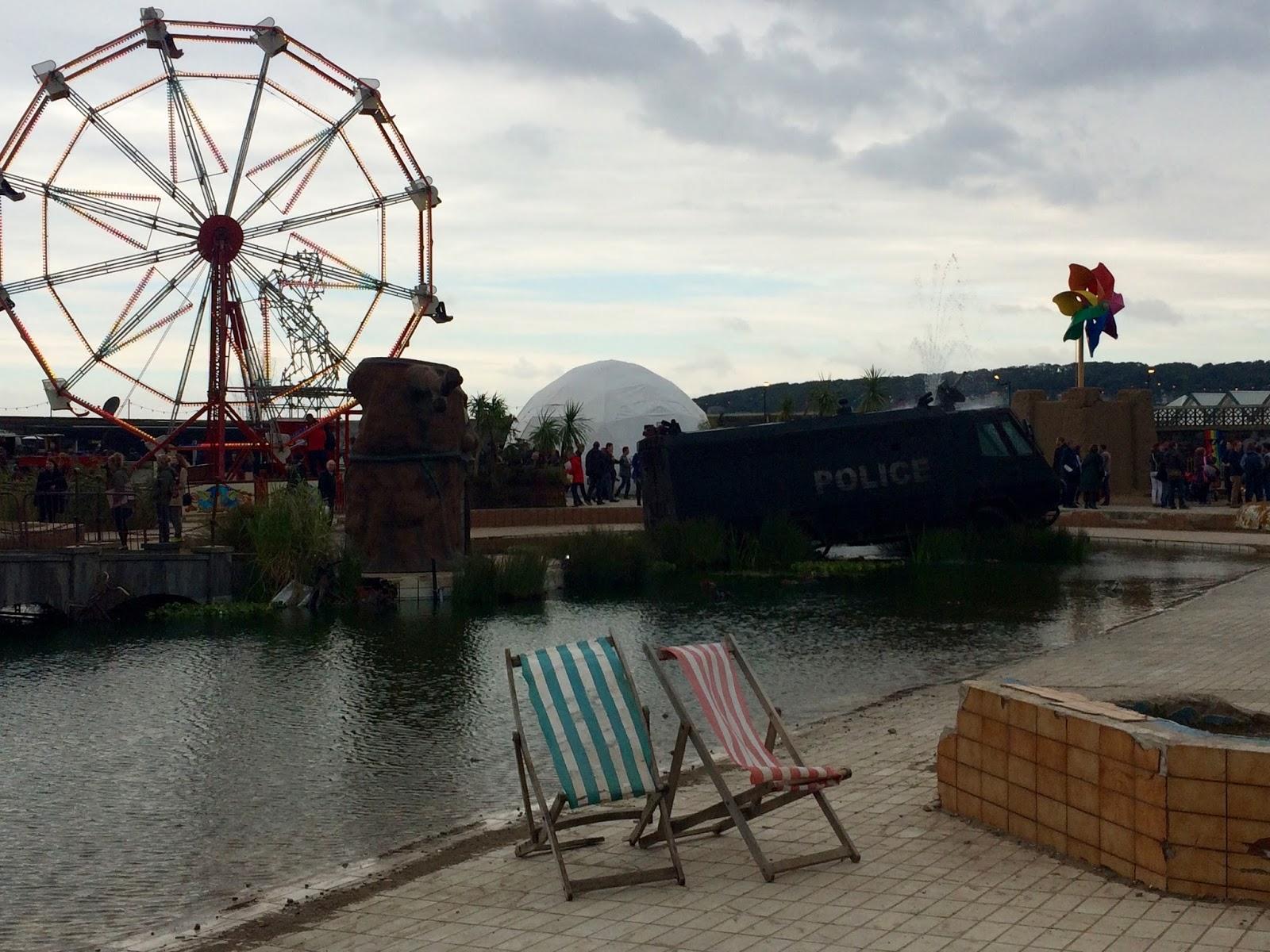 Dismaland Deck Chairs and Ferris Wheel