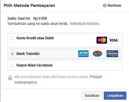 memilih metode pembayaran belanja iklan di facebook