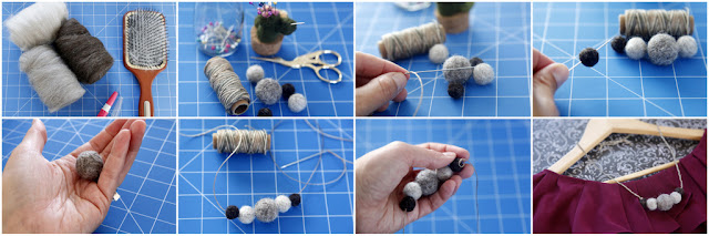 Step-by-step making a necklace using needle felted pet fur balls as beads