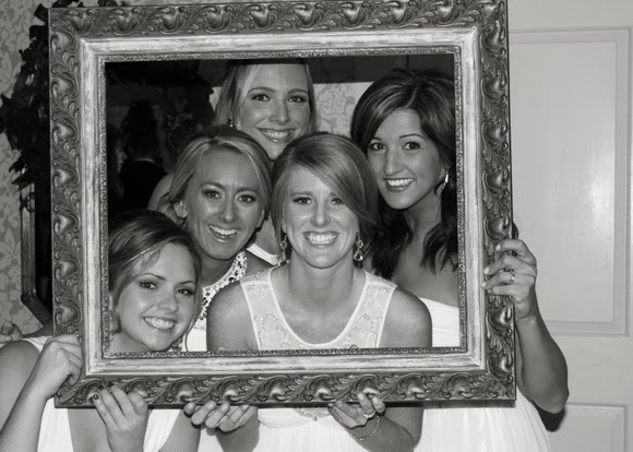 Best friends and bridesmaids gather for a black and white picture
