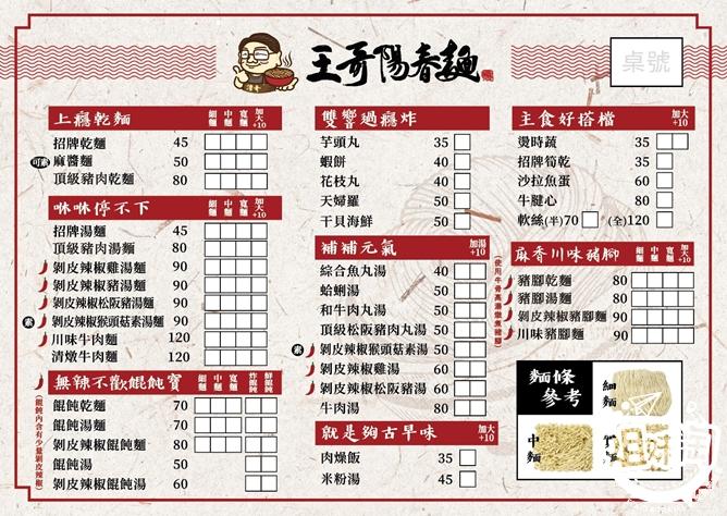 王哥陽春麵菜單-前金區小吃推薦