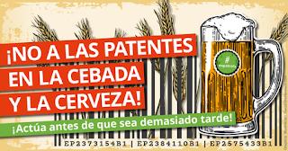 NO a las patentes de la cebada, la cerveza y su elaboración