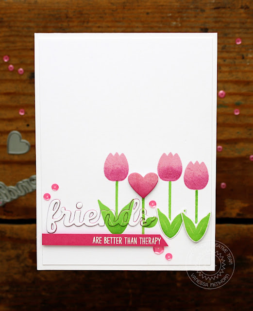 Sunny Studio Stamps: Friends & Family are Better Than Therapy Tulip Card by Vanessa Menhorn.