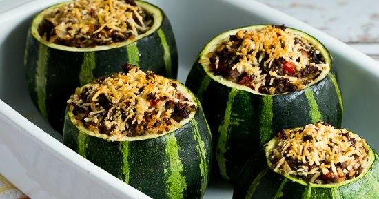 ... Stuffed Zucchini with Brown Rice, Ground Beef, Red Pepper, and Basil