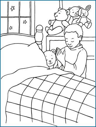 Dibujos Cristianos: Niño orando en la cama para colorear