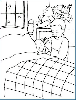 Dibujos Cristianos Niño Orando En La Cama Para Colorear Dibujos