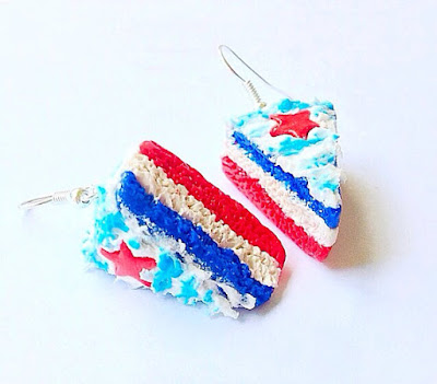4th of July Indepdence Day Red White Blue Cake Earrings