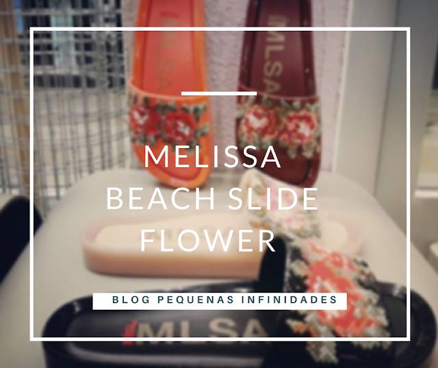 NOVA MELISSA BEACH SLIDE COM FLOR BORDADA