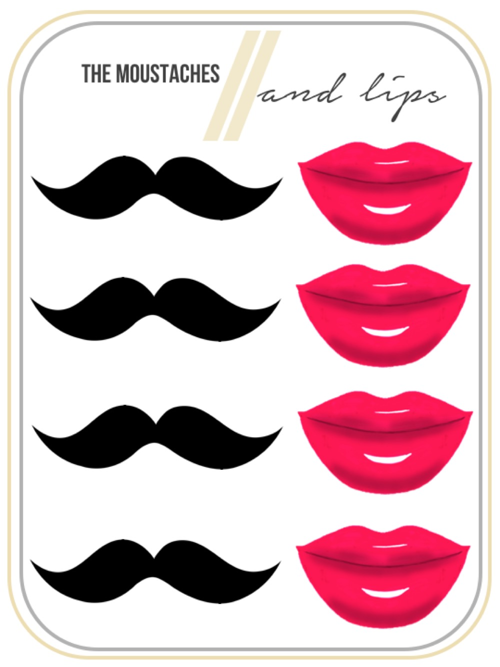 mustache and lips cut outs lipstutorial org