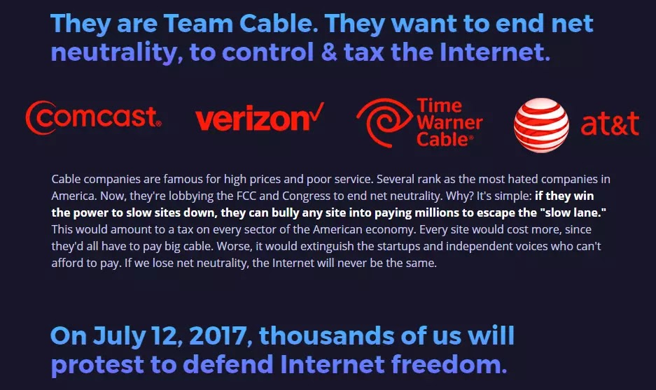 battleforthenet they comcast verizon time warner cable atandt want to own and control the web for their own devices