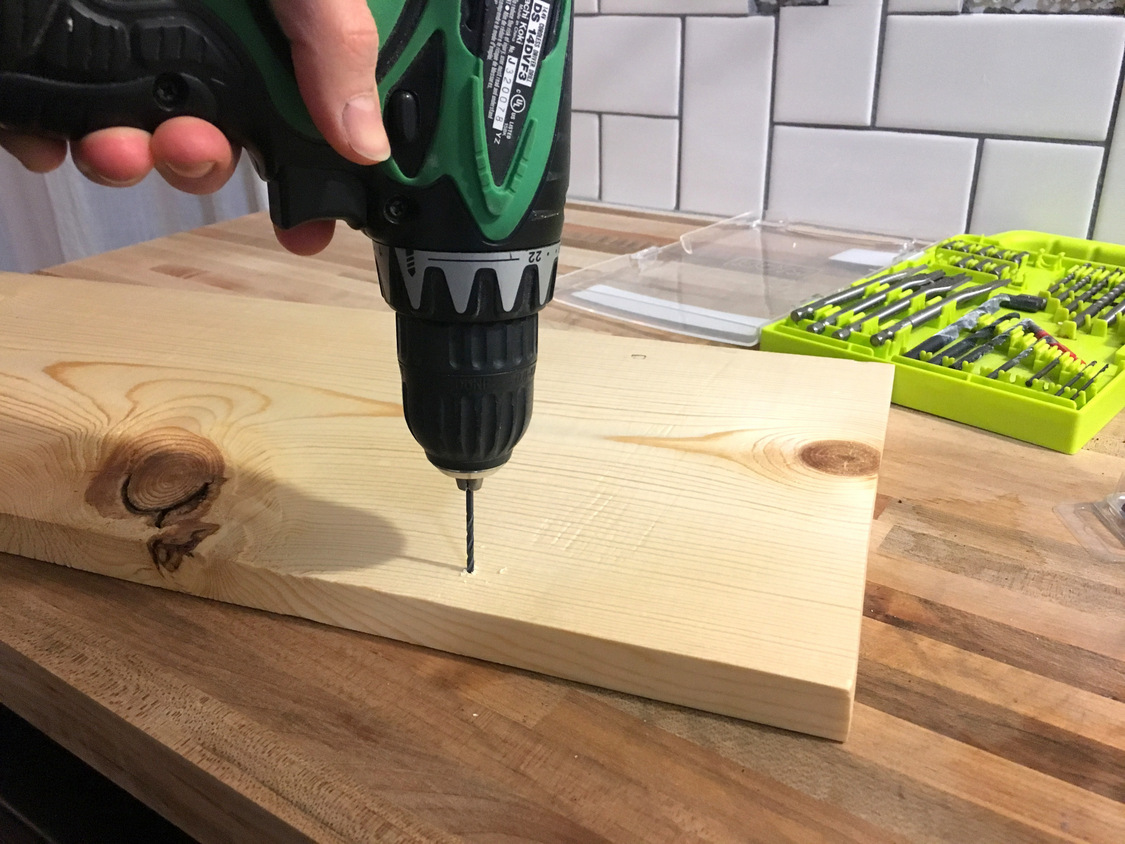 How To Install Basic Open Kitchen Shelves Over Tile A Wiring Pot Lights Tutorial Kinda Mom And Her Drill Carefully About 1 4 Deep Pilot Holes Into On Your Marks