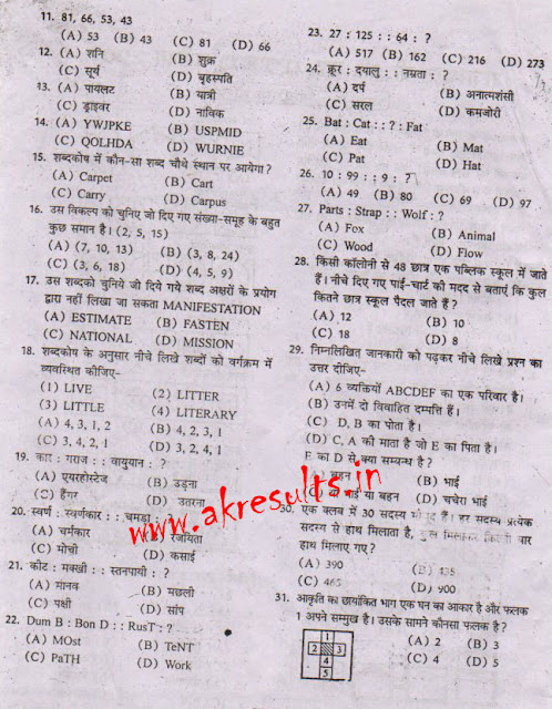 PTET 2017: Rajasthan Entrance PTET OLD EXAM PAPER 2007