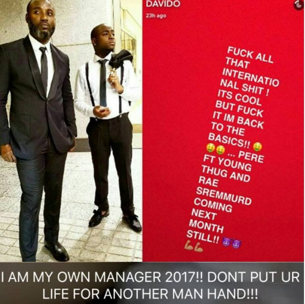 Davido blasts Sony Music, fires his manager