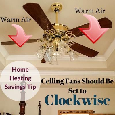 Set ceiling fans to clock wise- Home Heating Savings tip