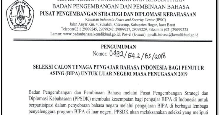 Seleksi Calon Tenaga Pengajar Bahasa Indonesia Bagi Penutur Asing Bipa Untuk Luar Negeri Masa