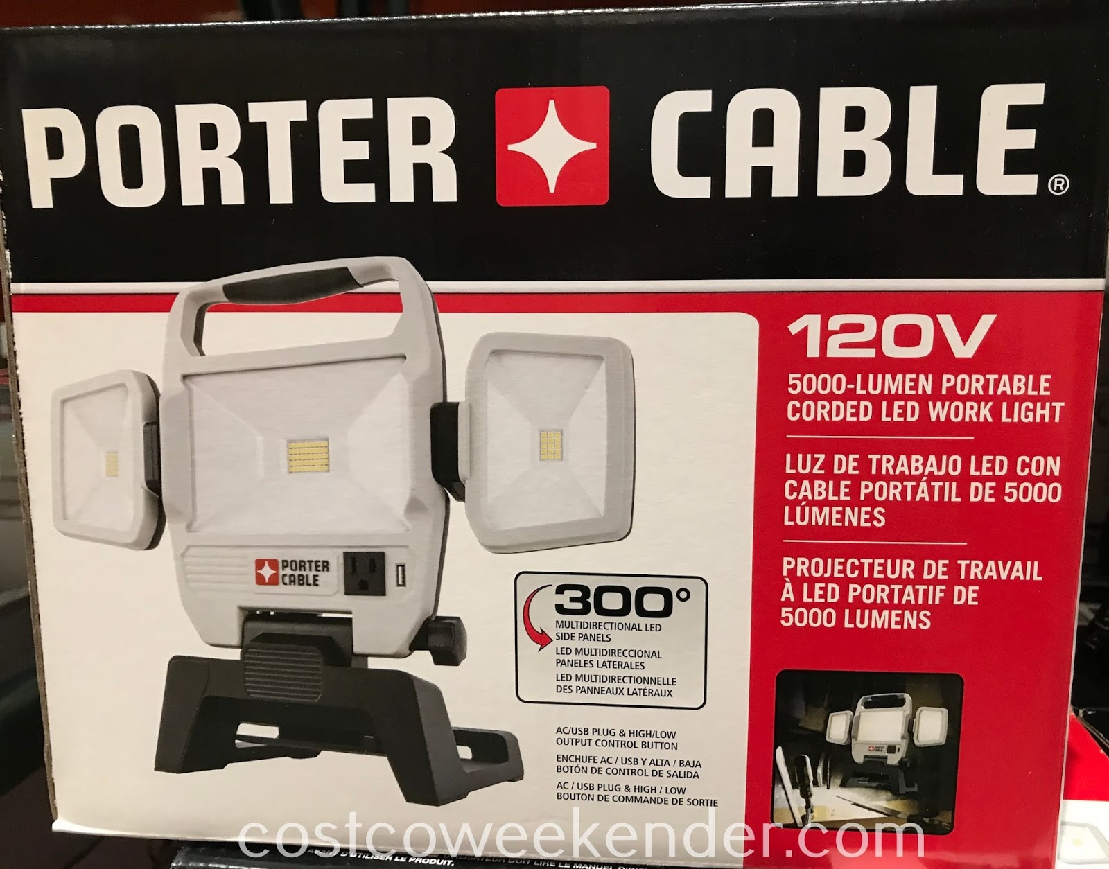 Get more done by brightening up your workspace with the Porter Cable Portable Corded LED Work Light