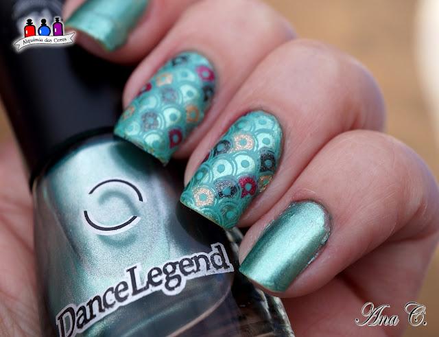 dance legend, steel, axe, verde metálico, reverse stamping, kn 21, kelly negri