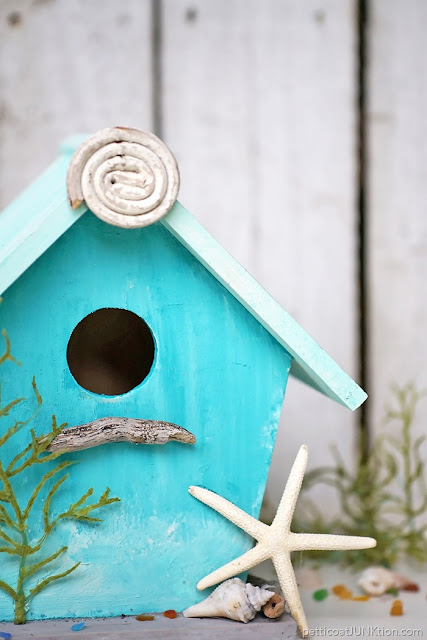 Beach decor coastal colors bird house featured at Knick of Time's Talk of the Town Link Party