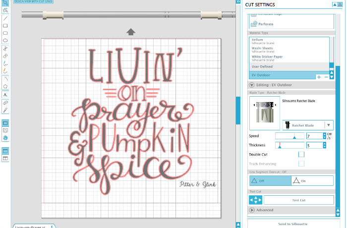 Cutting the free hand-lettered mug design with the Silhouette Cameo