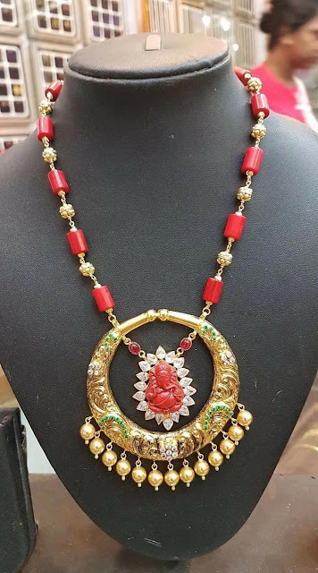 Red coral beads and stones necklaces