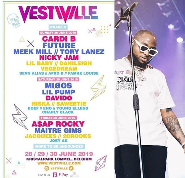 Davido To Perform Alongside Cardi B, Meek Mill, Others At Belgium Festival