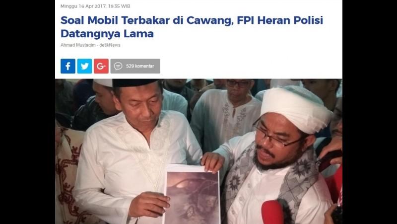 FPI sebut polisi datang terlambat