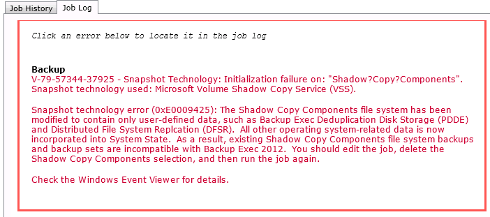 snapshot technology error xe
