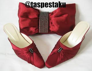 Tas Pesta dan Slop Pesta Merah Maroon Cantik Mewah Elegant