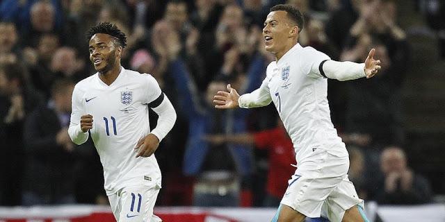 Raheem Sterling et Dele Alli sous le maillot de la sélection anglaise