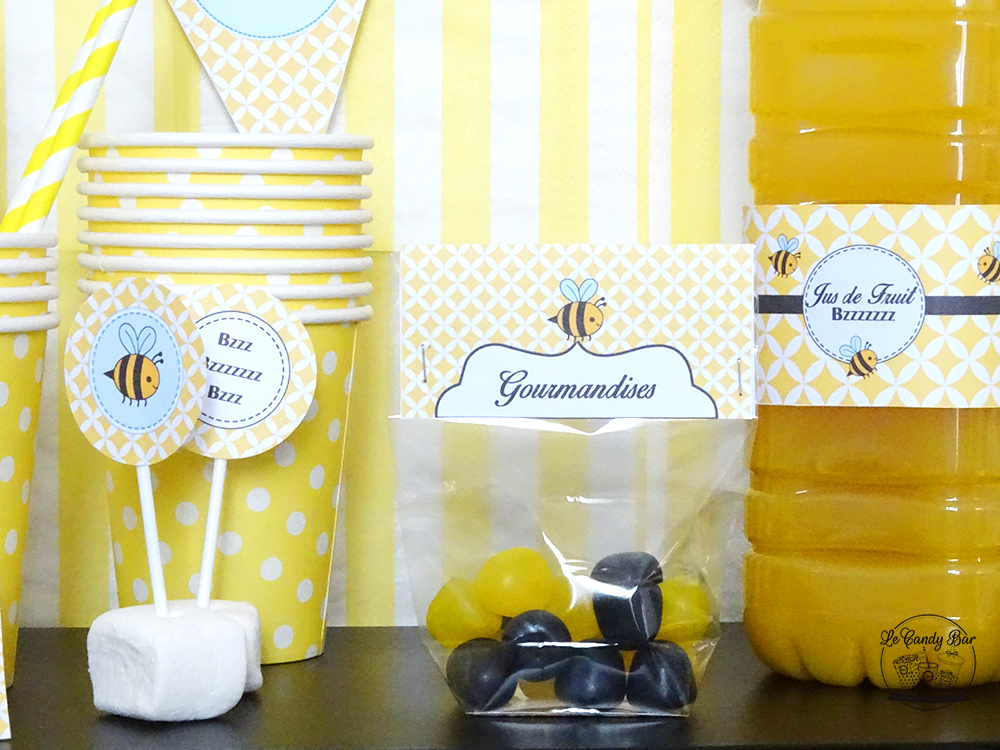 decoration papier pour sweet table jaune theme abeille