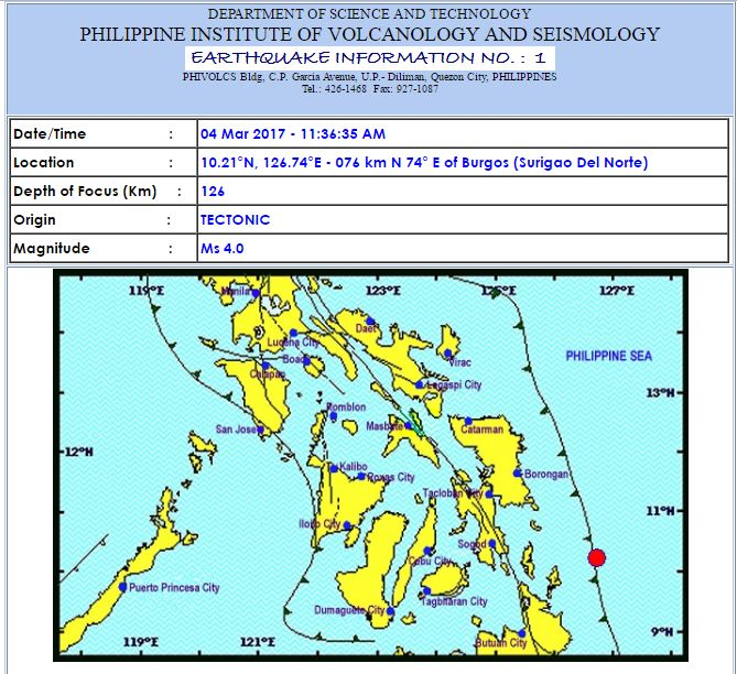 Magnitude-4.0 quake strikes off Surigao del Norte