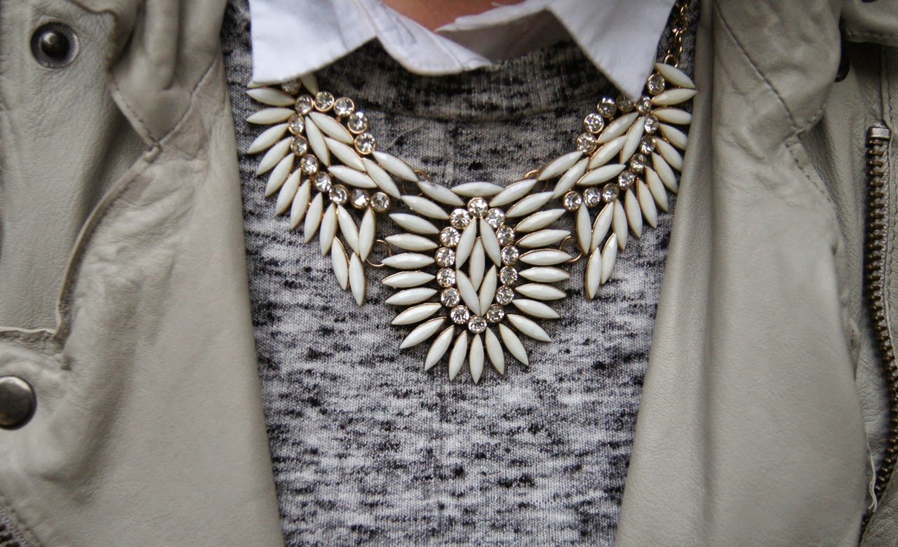 autumn style outfit salt n pepper sweater topshop statement necklace