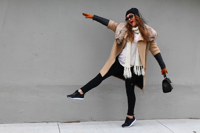how to layer, camel coat, winter outfit, how to wear sneakers, canadian fashion blogger, fashion blogger outfit, sporty trend outfit