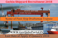 Cochin Shipyard Limited Recruitment 2018 – Ship Draftsman Trainee