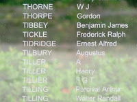 Ernest Tidridge name on Southampton Cenotaph