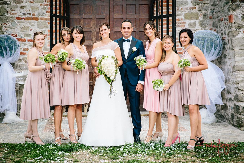 foto matrimonio damigelle sposi