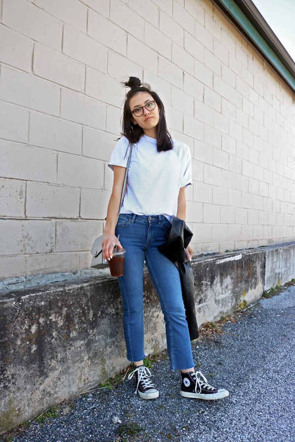 White T-Shirt, Cropped Jeans, Converse Shoes