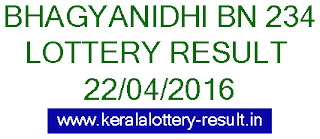 Kerala lottery result, Bhagyanidhi Lottery result, Bhagyanidhi BN-234 lottery result, Today's Bhagyanidhi Lottery result, 22/04/2016 Bhagyanidhi Lottery result, Bhagyanidhi BN 234 lottery result, Bhagyanidhi BN234 lottery result.