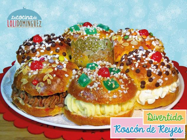 Divertido Roscón De Reyes Relleno De 3 Sabores, Nata, Trufa Y Crema Pastelera