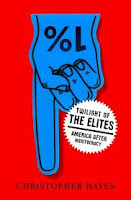 Red cover of Twilight of the Elites with blue we're #1 finger hand pointing downward