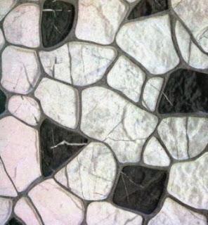 Keramik motif batu pipih sedang hitm putih