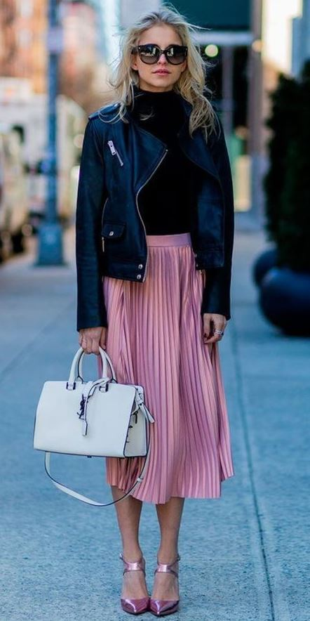 Oh, And We'll Always Love The Pink Skirt x Black Leather Combo!