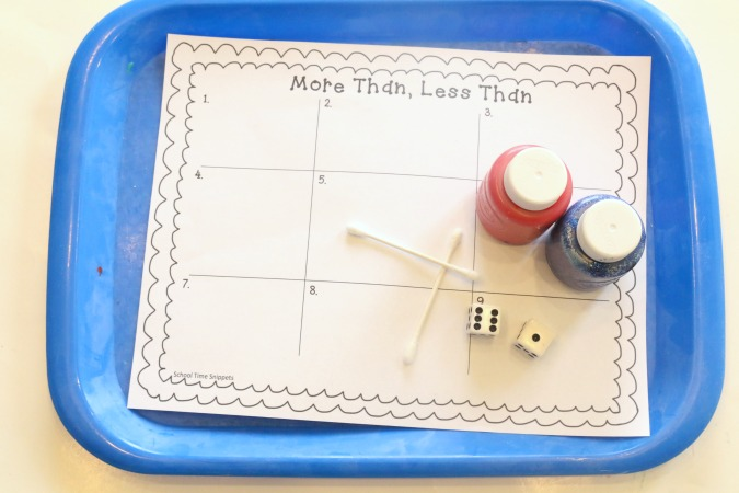 more than less than worksheet for kindergarten